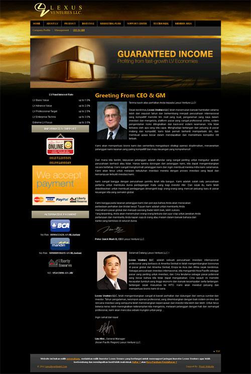 LexusInvestment > Webs Support Untuk Para Investor Lexus Venture